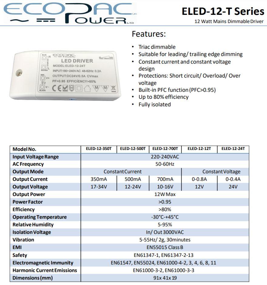 Ecopac Eled 12 Series Constant Voltage Led Driver 12w 12v 24v Circuit
