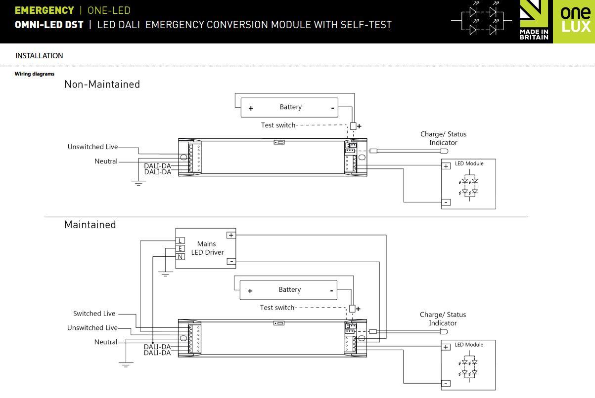 Onelux Plastic Enclosure Self Test Dali Emergency Conversion Kit For Led Lighting 9 55vdc Inc Battery