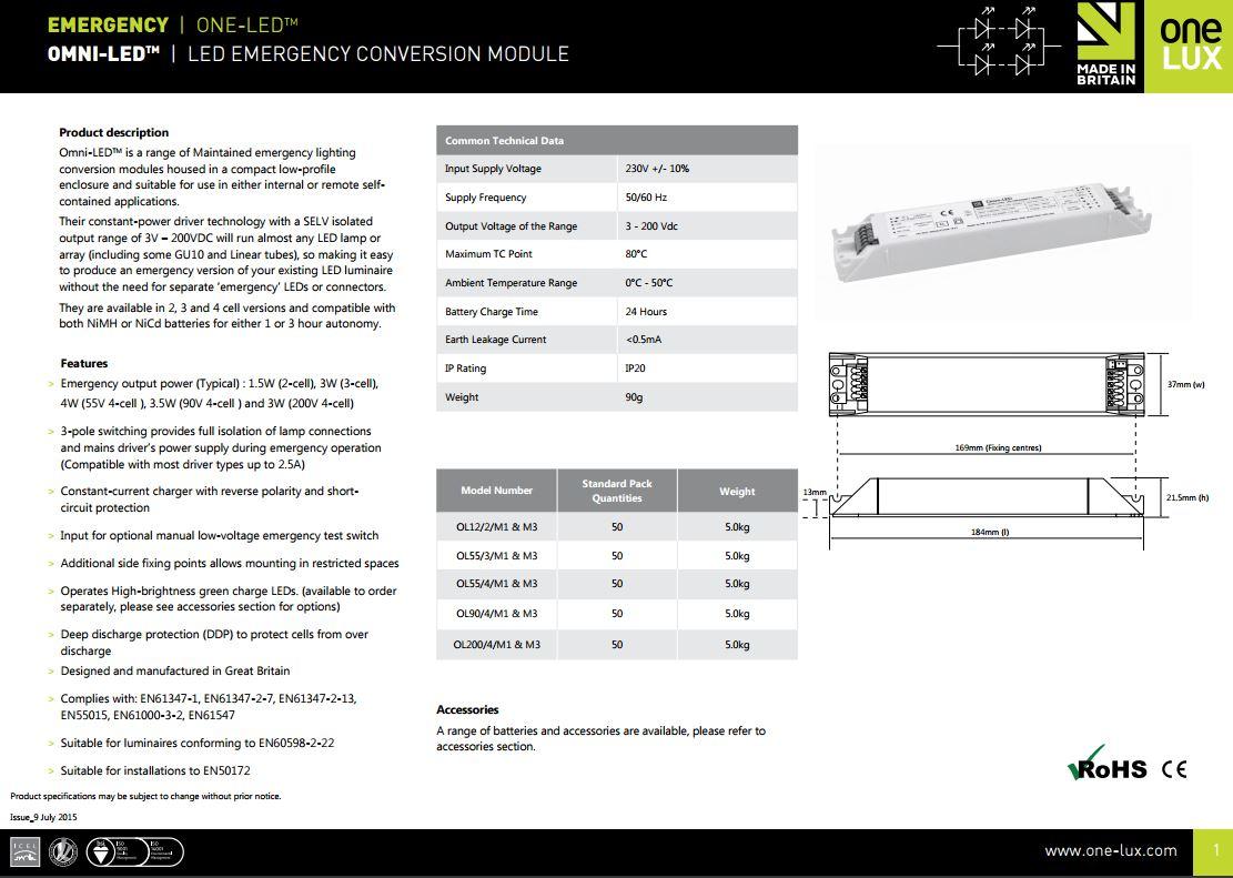 Onelux Sock Emergency Conversion Kit For Led Lighting 9 55vdc Inc Battery